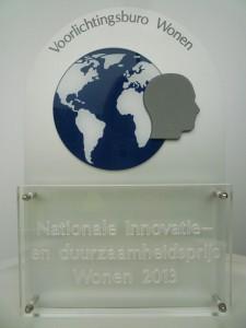 Duurzaamheidsprijs Wonen plaquette 2013