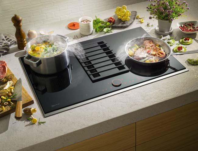 FlexInductie kookplaat met afzuiging