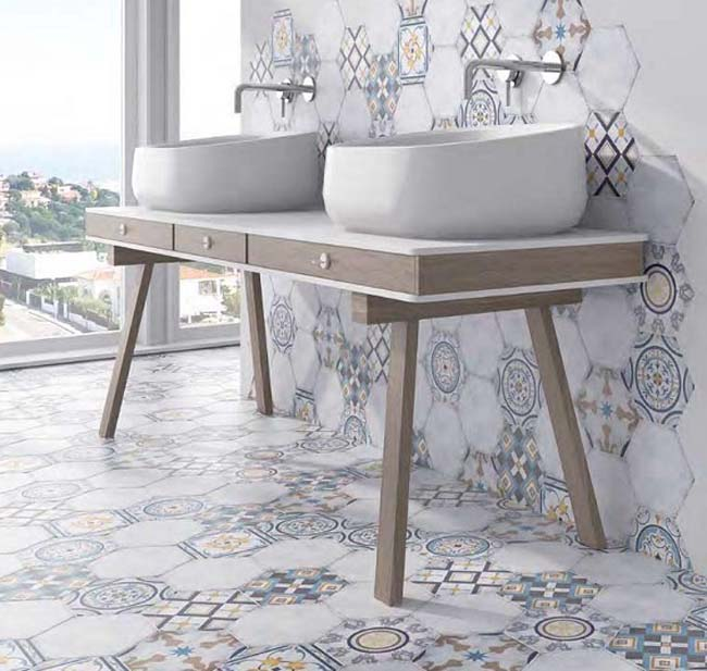 Hexagonale tegels in de mix - Bizantino blanco