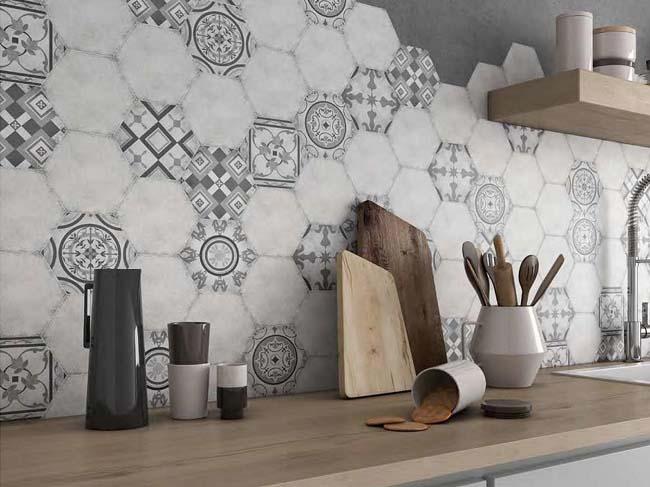 Hexagonale tegels in de mix - Bizantino gris