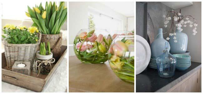 Lente in de keuken met bloemen