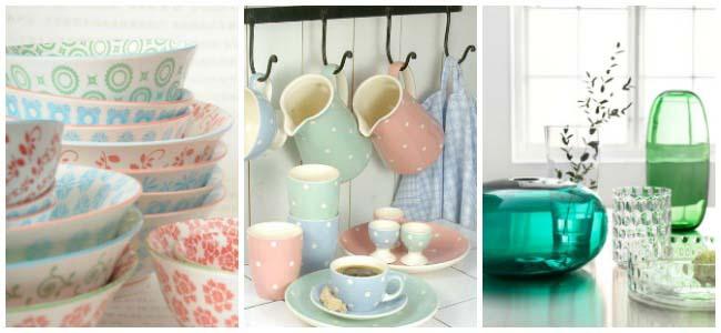 Lente in de keuken met glas en servies
